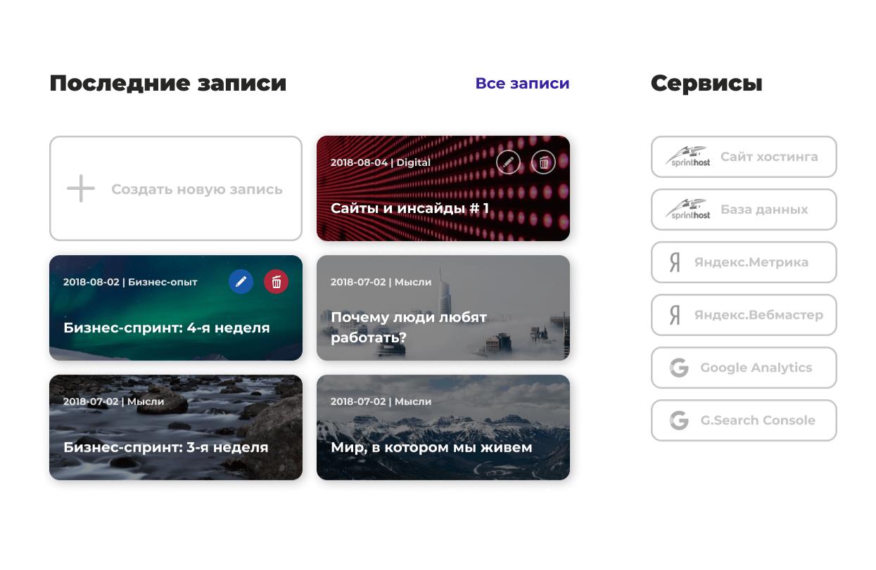 фото, панель управления сайтом khorin.ru