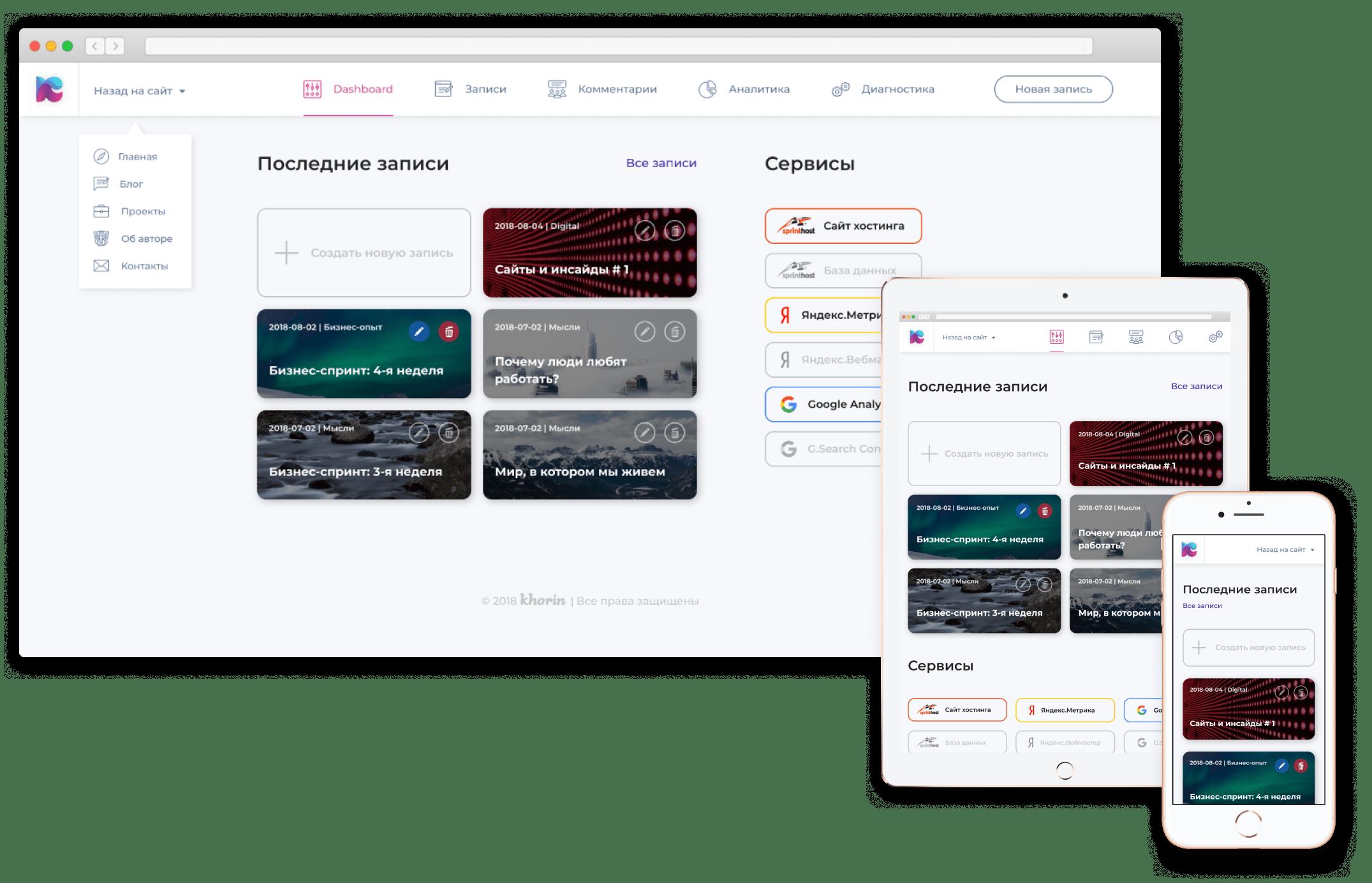 мокапы, панель управления сайта khorin.ru
